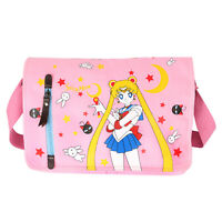 Sailor Moon Pink Canvas Bag Messenger Shoulder Bag Girls School Satchel Bag