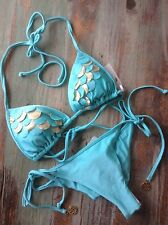 Luli Fama ~ SEXY bikini ~ Si, Soy Sirena ~ Aruba Blue/gold ~XS~ scalloped ~ SALE