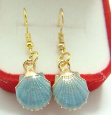 Pretty New Gold Plated Blue Enamel Scallop Shell Drop Dangle Earrings