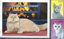 GHANA 2000 3161-62 Block 400 ex 2199-06 Cats Katzen Animals Tiere Fauna MNH
