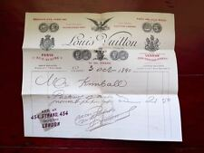 VERY RARE 1890 LOUIS VUITTON TRUNK MAKER SIGNED INVOICE