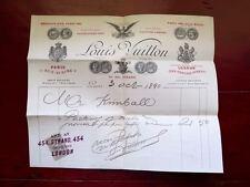 VERY RARE 1890 LOUIS VUITTON TRUNK MAKER SIGNED INVOICE...ADDED FREE BONUS!!!