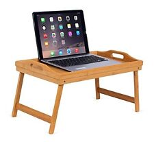 Portable Folding Lap Desk Bamboo Laptop Breakfast Tray Natural Bed Table Stand