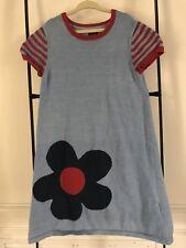 MINI BODEN Light Blue & Red Stripe Sweater Dress Size 9-10Y 9 10 EUC
