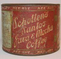 Rare Old Vintage 1930s SCHOTTEN SANTOS KEE KUT COFFEE TIN 1 POUND St. Louis MO