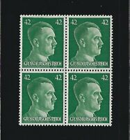 MNH stamp block / Adolph Hitler / PF42 / WWII Germany / 1944 Third Reich issue