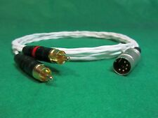 2' FT PURE SILVER PLATED 5 PIN DIN MALE to RCA NAIM NAIT NAC AMPLIFIER CABLE.