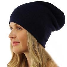 Winter 2ply Warm Thight Knit Slouch Long Beanie Skully Ski Hat Cap Korea Navy