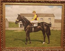 "Original Realistic Oil Painting by WF Perrin, ""Racehorse With Jockey"""