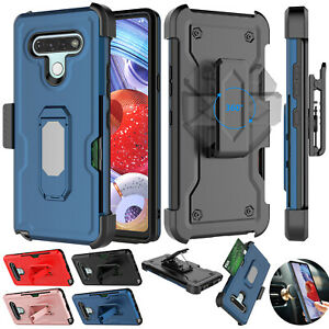 For LG Stylo 6 Phone Case with Belt Clip Holster Kickstand Cover w/Card Holder
