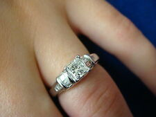 0.70 CT T.W. PRINCES & BAGUETTE DIAMONDS ENGAGEMENT RING, VERY HIGH QUALITY!