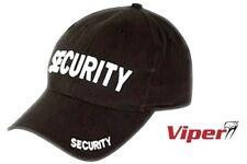 VIPER SECURITY BASEBALL CAP Mens black cotton embroidered doorman hat
