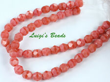 25 Pink-Coral Czech Firepolished Faceted Round Glass Beads 6mm