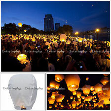 10x White Kongming Wishing Lantern Chinese Paper Sky Candle Wedding Fly Party
