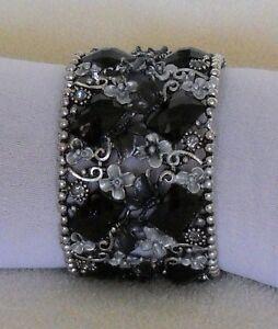 BLACK CUFF Bracelet GENUINE AUSTRIAN CRYSTAL Garden Motif Jewelry by MARIELL