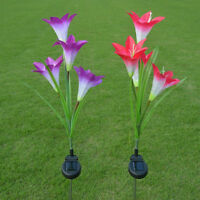 Solar Powered LED Light Lily Flower Stake Lamp for Outdoor Garden Lawn Yard
