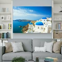 Canvas Aegean Sea Printed Wall Art Framed Pictures for Living Bedroom Home Decor