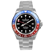Oceaneva Men's Deep Marine Explorer GMT 1250M Pro Diver Watch Blue and Red