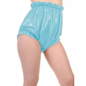 100% Latex Briefs Rubber Light Blue Lace Shorts Sports Swim Trunks Loose 0.4mm