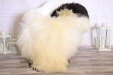 Genuine Natural Beige Black Icelandic Sheepskin Rug long fur #ISLSH23