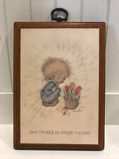 """1971 Vintage Betsey Clark Hallmark Plaque """"Lovely Flowers Are Smiles From God�"""