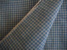 Antique Woven Homespun Plaid Check Cotton Fabric ~ Americana Workwear ~ Red Blue