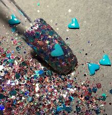glitter mix acrylic gel nail art       HEART OF THE OCEAN