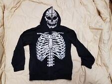 Black Hoodie Skeleton Skull 2 zippered Childs size 8 M long sleeve Halloween