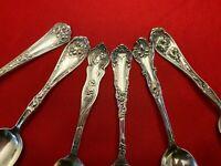 Lot of 6 ORNATE Silverplate Flatware HANDLES for Crafts Jewelry Art  Circa 1910