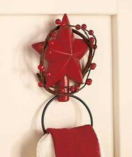 Primitive Country Burgundy Berries Towel Hook Red Star Bath Towel Hanger