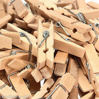 50 Pcs Home Clothespins Wooden Laundry Clothes Pins Large Spring Size 35MM New