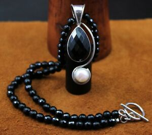 """Dominique Dinouart DDD """"Black Onyx w Cultured Pearl"""" Beaded Necklace Sterling"""