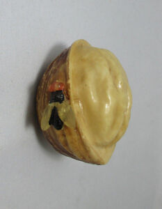 Celluloid half opened  WALNUT w/ FLY Pull TAPE MEASURE;Antique Original c1920