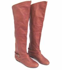 CHINESE LAUNDRY Tan Leather NOSTALGIA Over Knee Folding Top Tall Boot Size 7 M