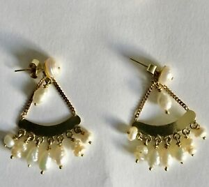 14K SOLID YELLOW GOLD DROP DANGLE CHANDELIER EARRINGS W/ SEED PEARLS EXCELLENT