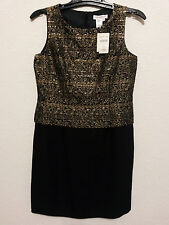 Coldwater Creek Womens Cocktail Dress P 10 Sheath Party Wear Black & Gold - NEW