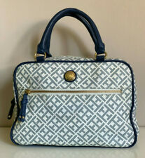 NEW! TOMMY HILFIGER BLUE OFF-WHITE SIGNATURE LOGO DUFFLE SATCHEL BOWLER BAG $85