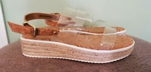 Mix No. 6 Clear Strap Sandals Espadrilles Size 8 Wedge heel NEW Never Worn