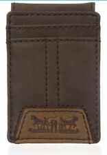 Levi's Men's Matt Slim Front Pocket Wallet Money Clip Brown New 31LV1622