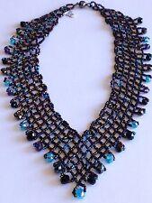 "Artisan Czech Glass Bead PURPLES & BLUES 20"" Cascade Bib ""V"" NECKLACE"