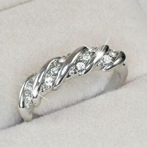 White Gold gp Round Cut Lab Diamond Wedding Party Twist Anniversary Band Ring