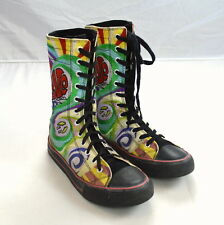 UNDERGROUND ENGLAND Rainbow Graffiti Embroidered Rero Hippie Lace Up Boots 10