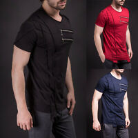 Mens Zip T Shirt Plain Crew Neck Short Sleeve Slim Fit Hip Hop Casual Sport Tops