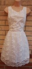 QED LONDON WHITE FLORAL LACE LACE UP BACK SKATER WEDDING PARTY FAIRY DRESS 12 M