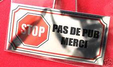 Plaquette Aluminium miroir STOP PAS DE PUB MERCI métal. 4x8 cm