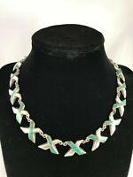 ENRIQUE LEDESMA Taxco Mexico Necklace Sterling Silver Malachite Xs Vintage 1950s
