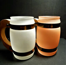 New listing 2 '60s Siesta Ware Frosted Glass Bar Mugs/Wood Handles/Collectible/White /Orange