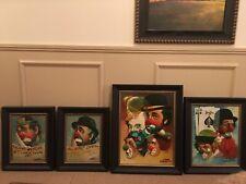 Man Cave, Clown Lovers,  Oberstein Original Oil  Paintings 4 Piece Set