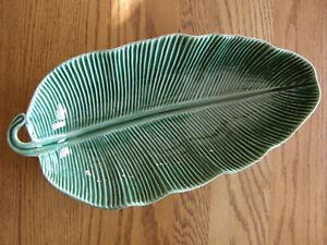 Williams Sonoma Banana Leaf Small Salad Serving Bowl - Nature, Tiki Ba -New-USPS