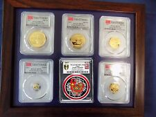 2017 CHINA ~ 3 OZ PURE GOLD&SILVER PANDA 6 COINS SET  PCGS MS 70 FIRST STRIKE